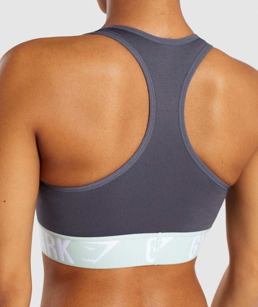 Gymshark Fit Sports Bra - Grey/Light Green 6
