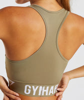 Gymshark Fit Sports Bra - Washed Khaki/White 12