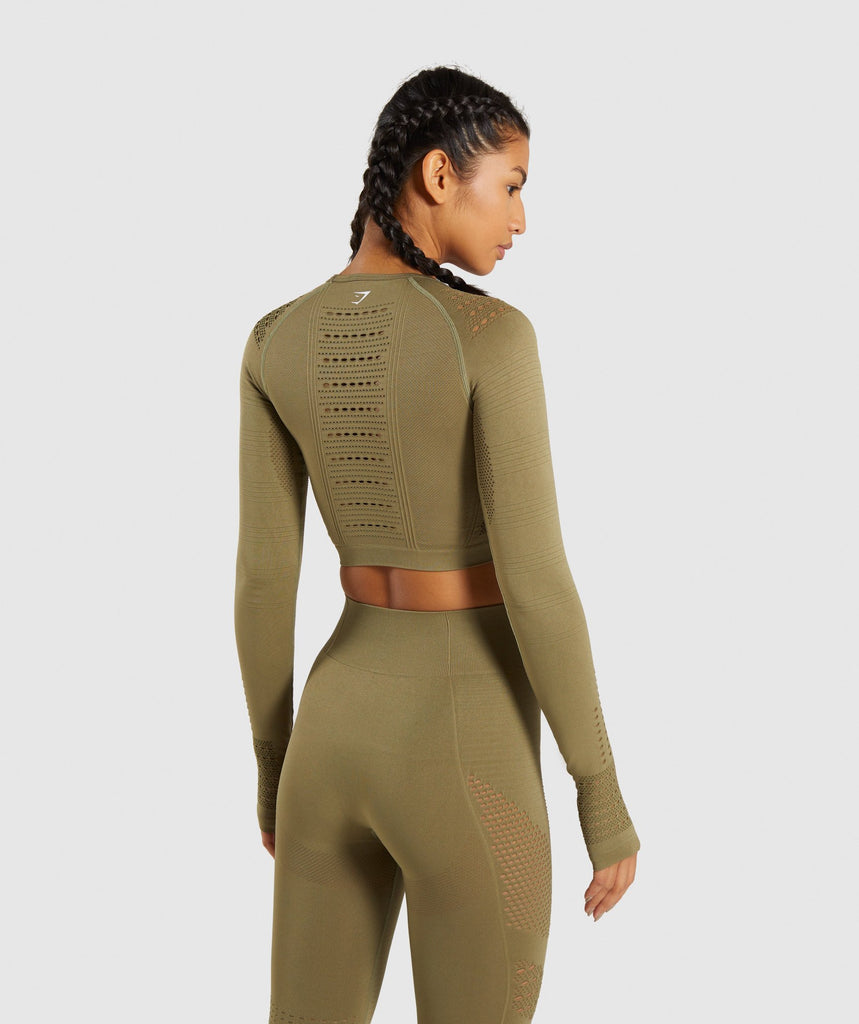 Gymshark Flawless Knit Long Sleeve Crop Top - Khaki 2