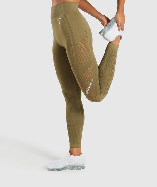 Gymshark Flawless Knit Tights - Khaki 2