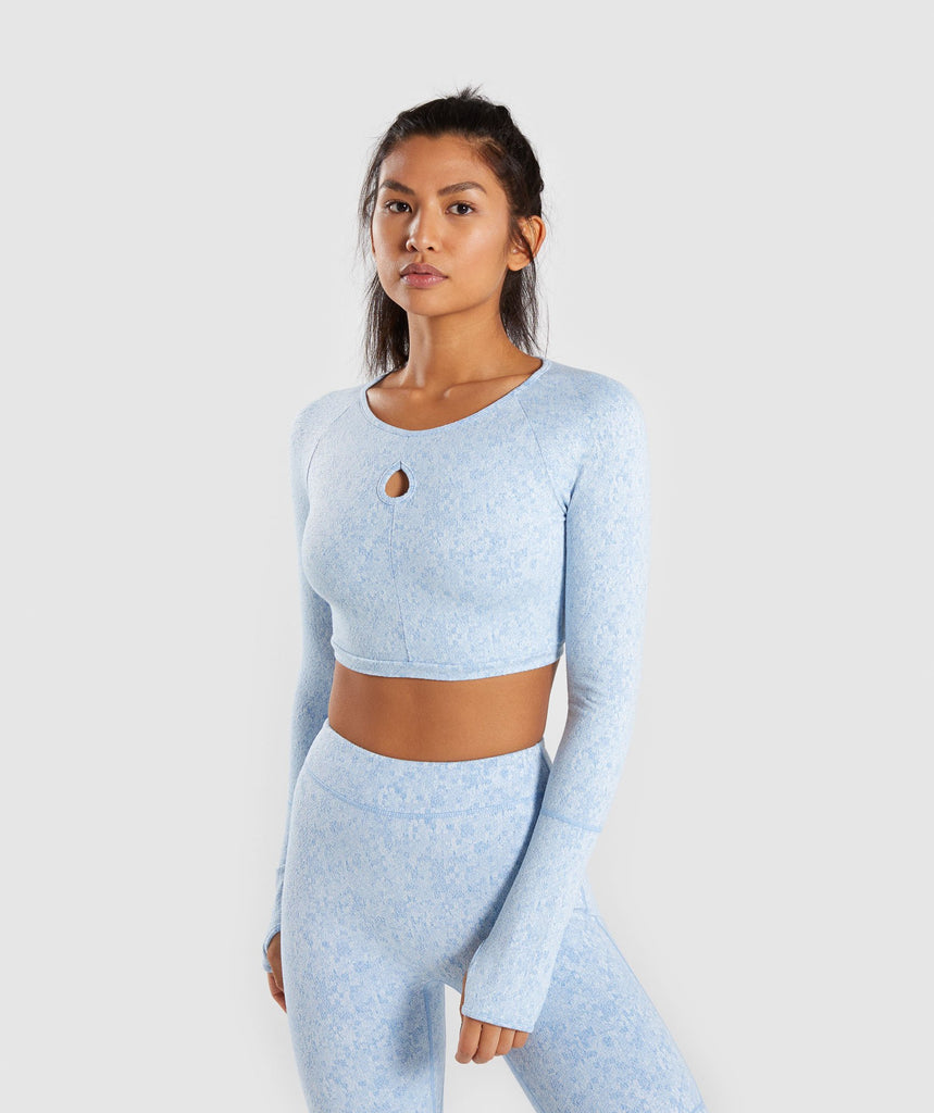 Gymshark Fleur Texture Long Sleeve Crop Top - Blue 1