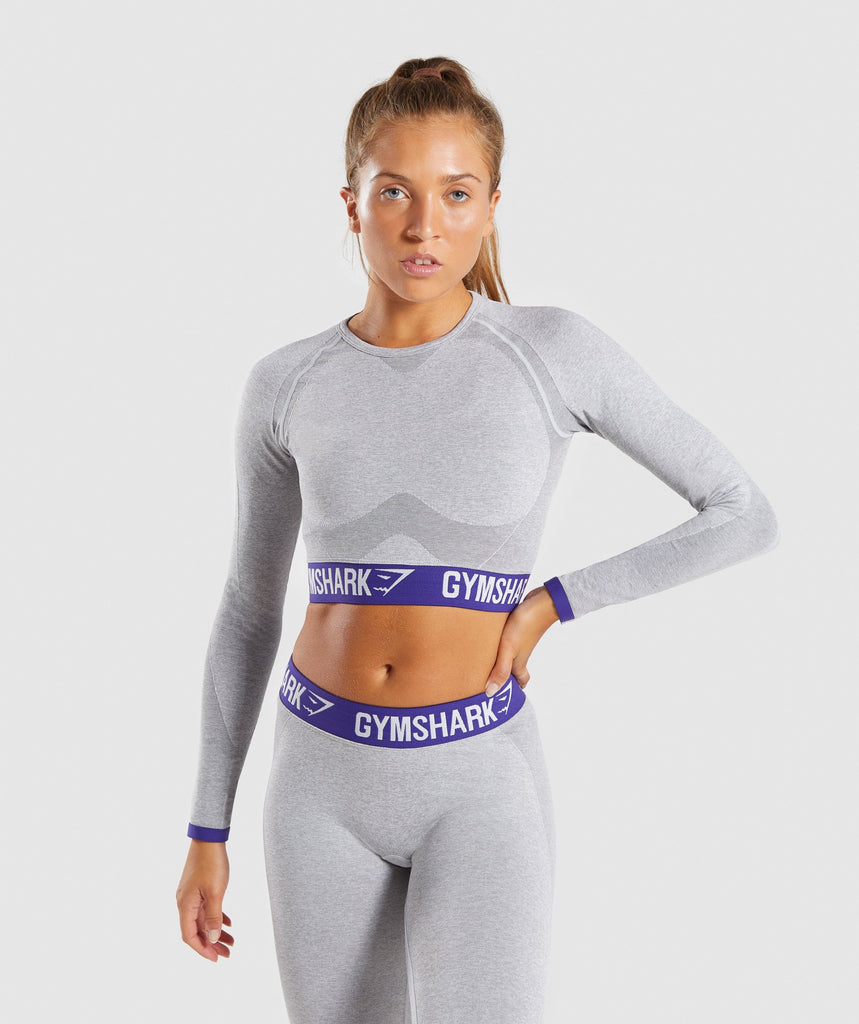 Gymshark Flex Long Sleeve Crop Top - Light Grey Marl/Indigo 1
