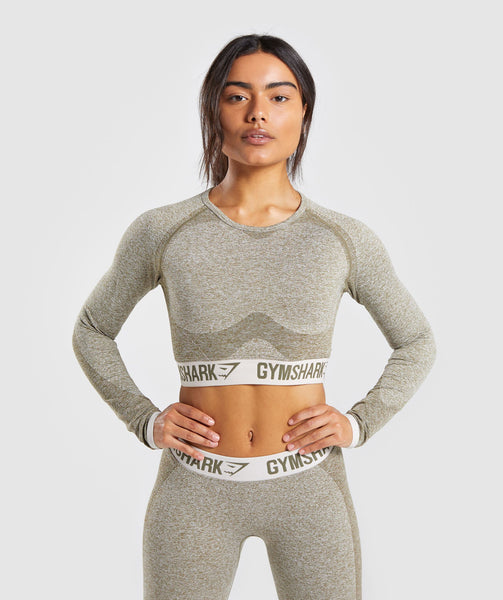 Gymshark Flex Long Sleeve Crop Top - Khaki/Sand 4