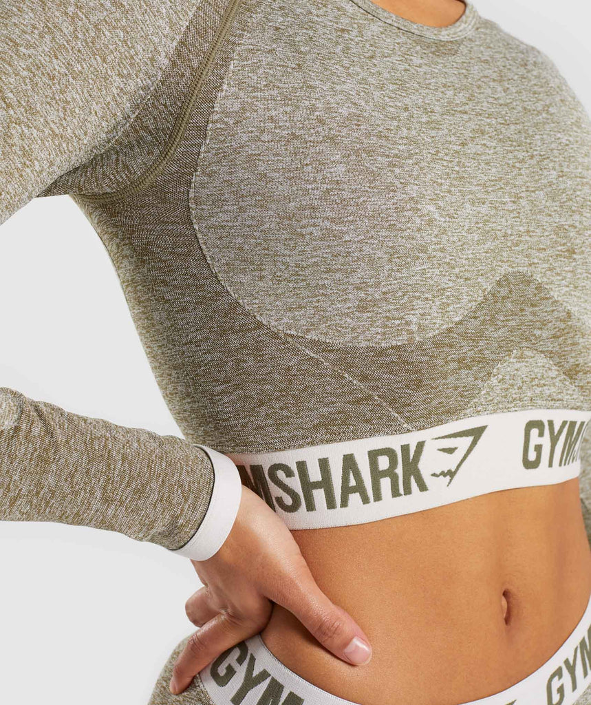 Gymshark Flex Long Sleeve Crop Top - Khaki/Sand 5