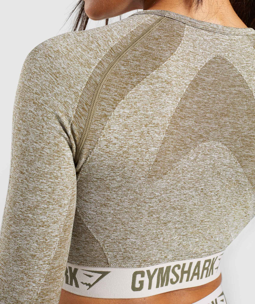 Gymshark Flex Long Sleeve Crop Top - Khaki/Sand 6