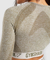 Gymshark Flex Long Sleeve Crop Top - Khaki/Sand 12
