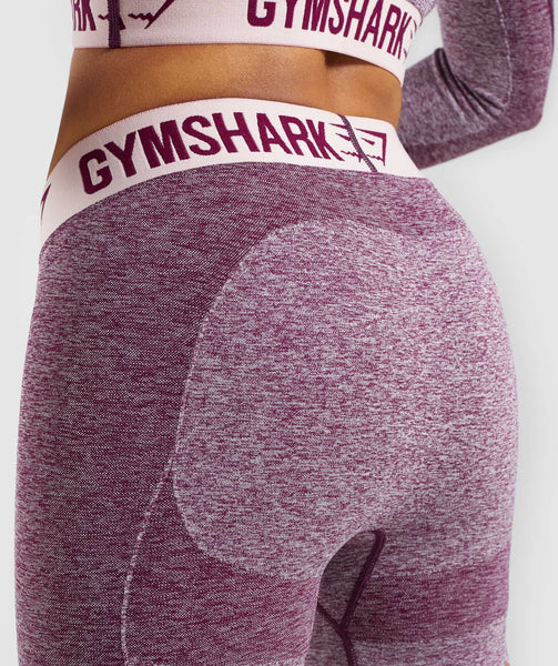 Gymshark Flex Shorts - Dark Ruby Marl/Blush Nude 4