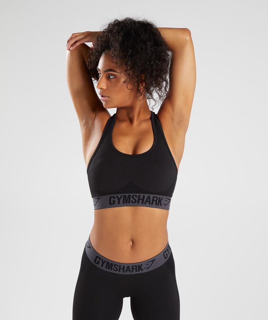 Gymshark Flex Sports Bra - Black Marl/Charcoal 1