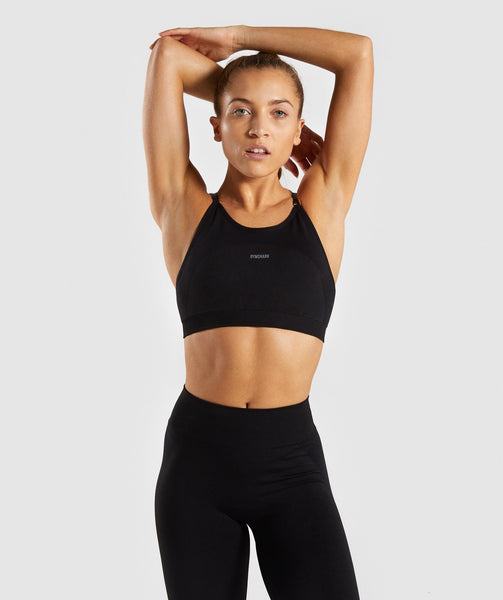 Gymshark Flex Strappy Sports Bra - Black/Charcoal 1
