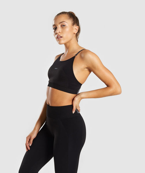 Gymshark Flex Strappy Sports Bra - Black/Charcoal 2