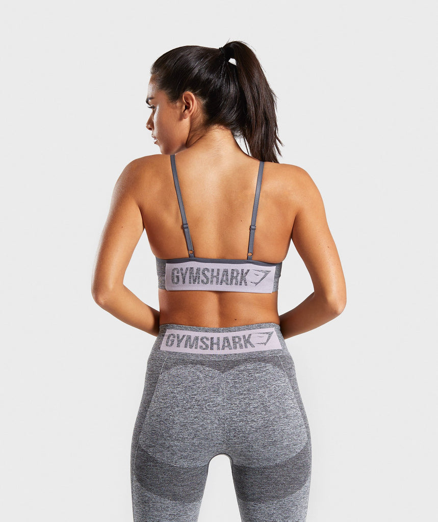 Gymshark Flex Strappy Sports Bra - Grey/Pink 2