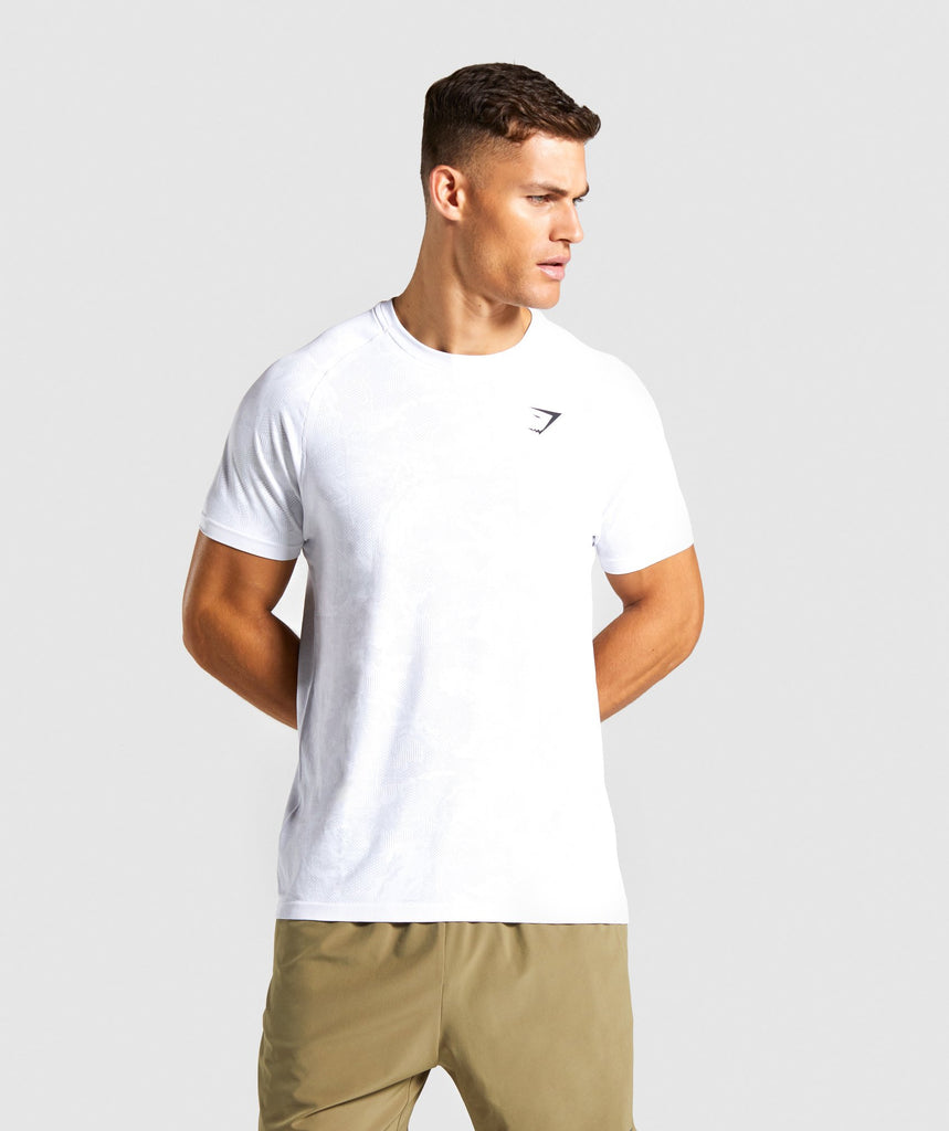 Gymshark Geo Lightweight Seamless T-Shirt - White 1