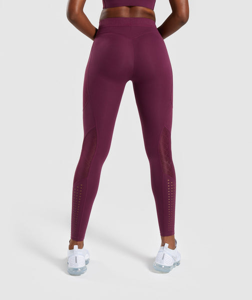 Gymshark Geo Mesh Leggings - Dark Ruby 1