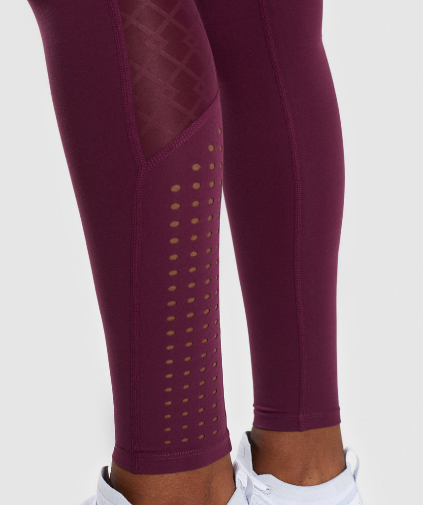 Gymshark Geo Mesh Leggings - Dark Ruby 5