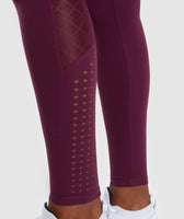 Gymshark Geo Mesh Leggings - Dark Ruby 11