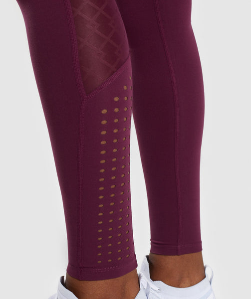 Gymshark Geo Mesh Leggings - Dark Ruby 4