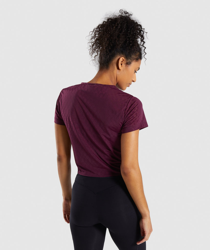 Gymshark Geo Mesh Two In One Top - Dark Ruby 2