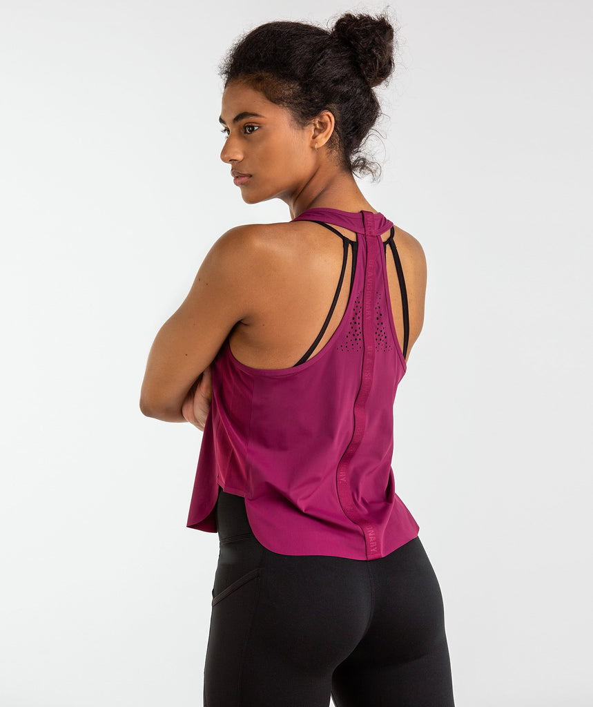 Gymshark T-Bar Cropped Vest 2.0 - Deep Plum 2