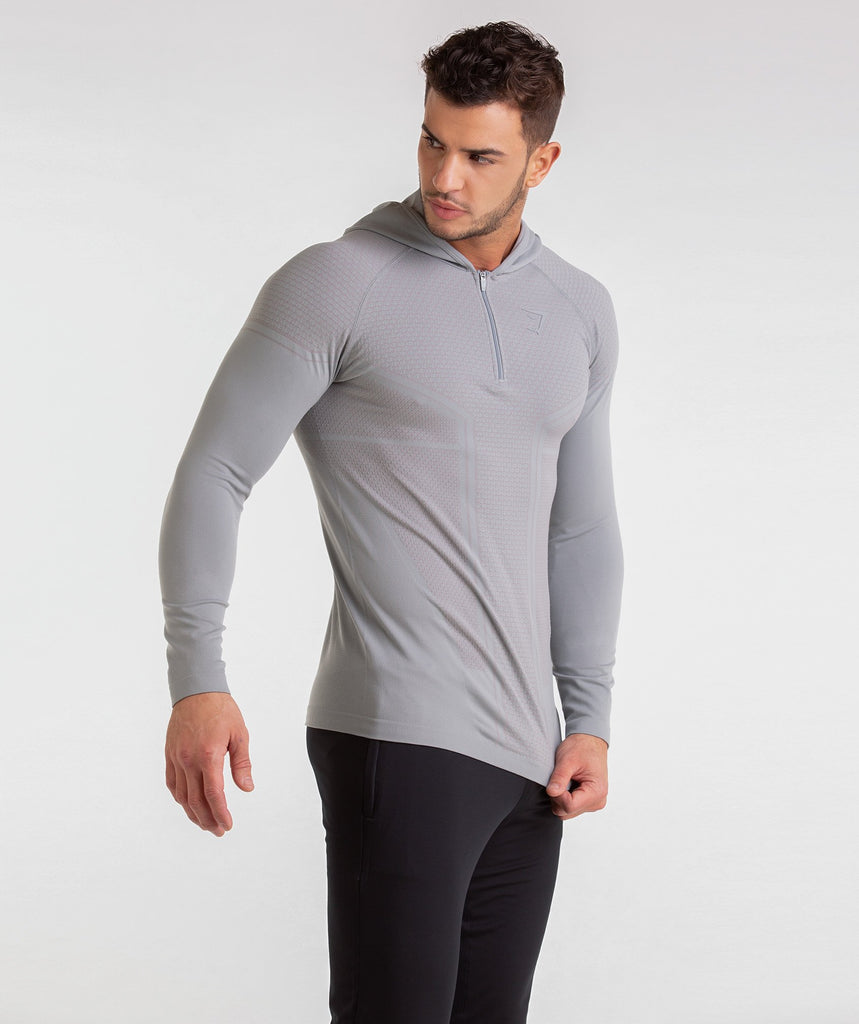 Gymshark Onyx Imperial Long Sleeve Hooded Top - Light Grey 1