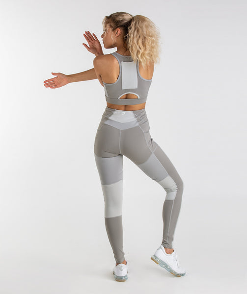 Gymshark Tonal Block Leggings - Light Grey 3