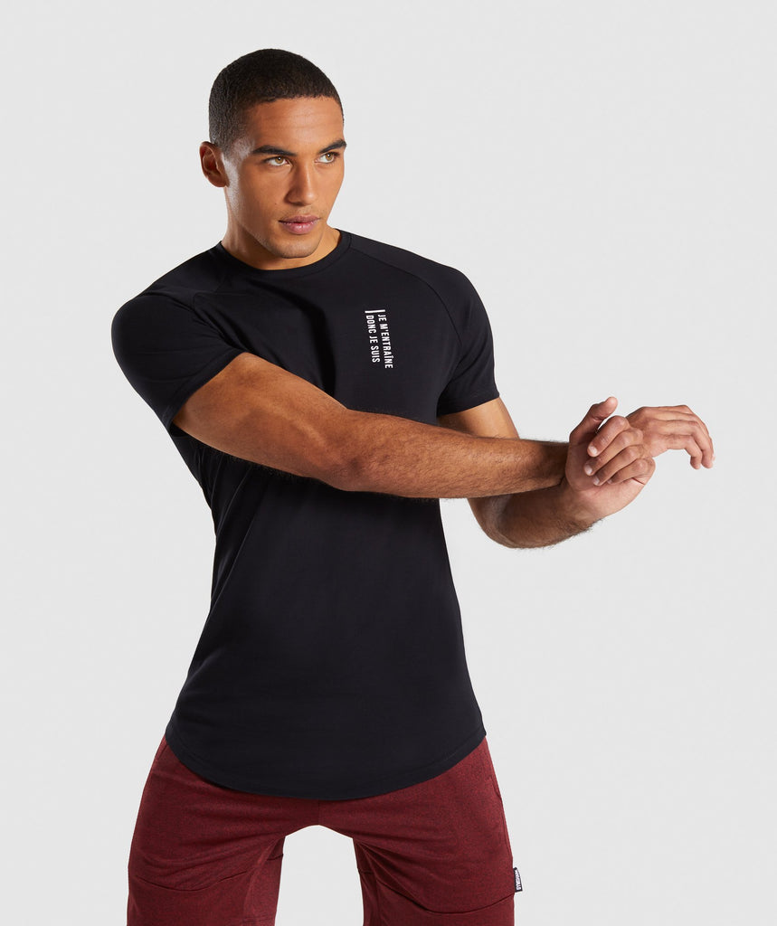 Gymshark Lifting Club T-Shirt French - Black 1