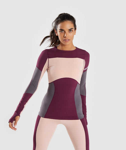 Gymshark Illusion Long Sleeve Top - Dark Ruby/Blush Nude/Slate Lavender 4