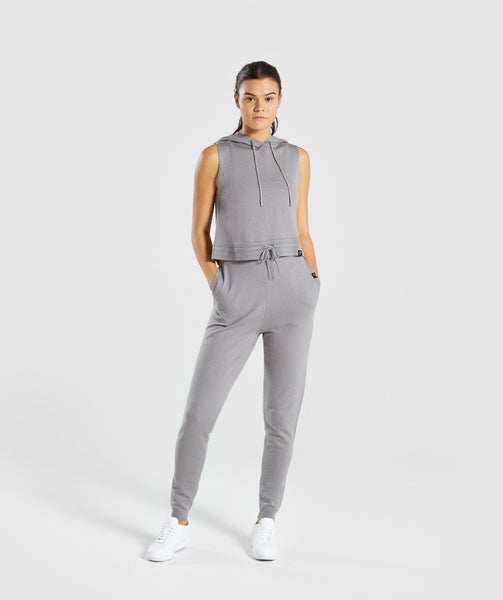 Gymshark Isla Knit Sleeveless Hoodie - Light Grey 3