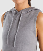 Gymshark Isla Knit Sleeveless Hoodie - Light Grey 11