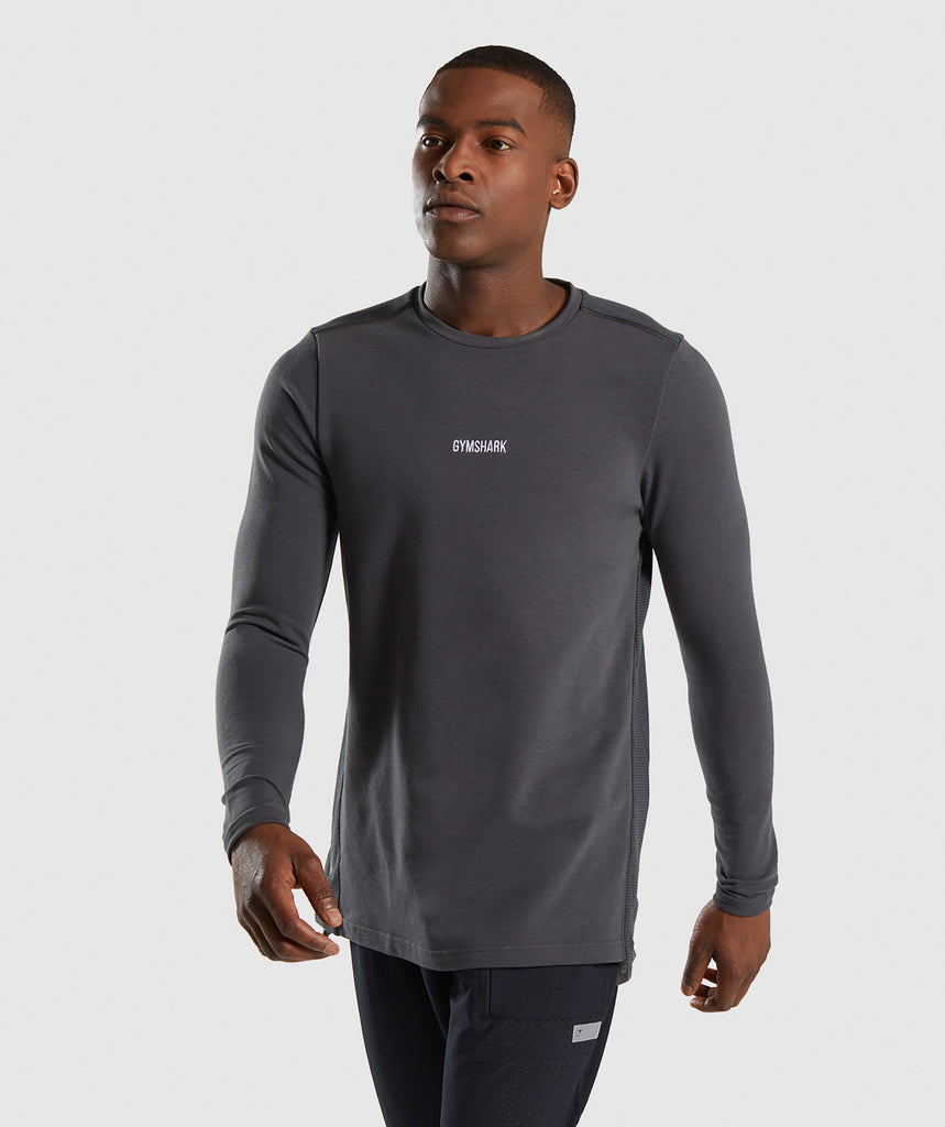 Gymshark Jacquard Back Long Sleeve T-Shirt - Charcoal Marl 1