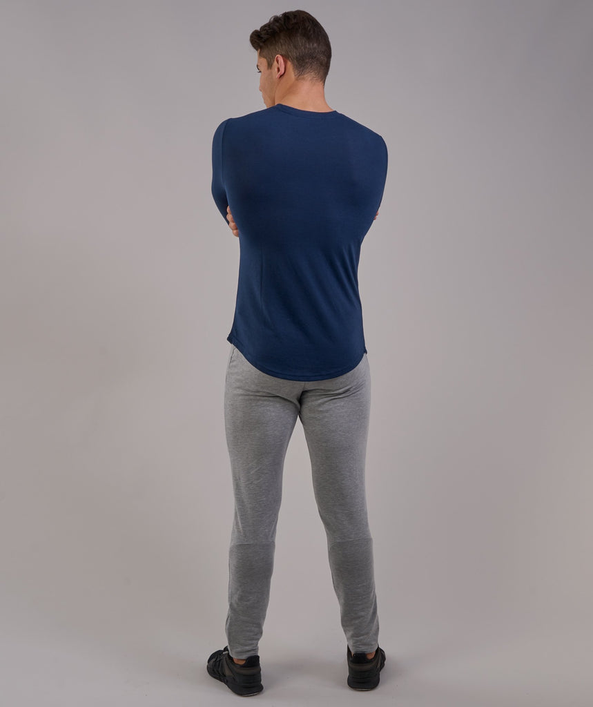 Perforated Longline Long Sleeve T-Shirt - Sapphire Blue