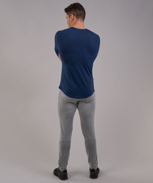Perforated Longline Long Sleeve T-Shirt - Sapphire Blue 1