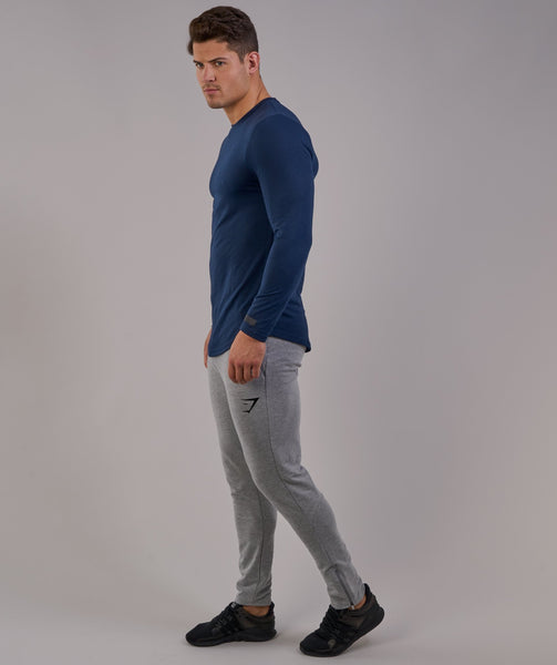 Perforated Longline Long Sleeve T-Shirt - Sapphire Blue 3