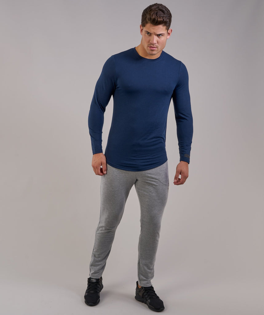 Perforated Longline Long Sleeve T-Shirt - Sapphire Blue 4