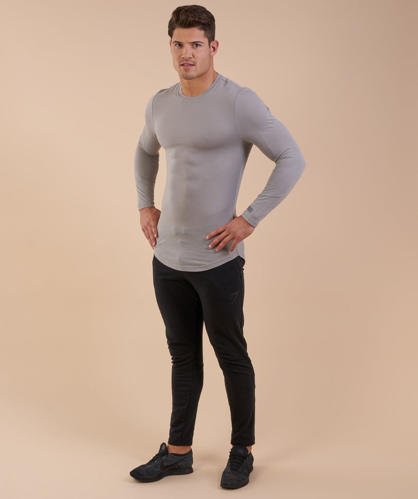 Perforated Longline Long Sleeve T-Shirt - Light Grey