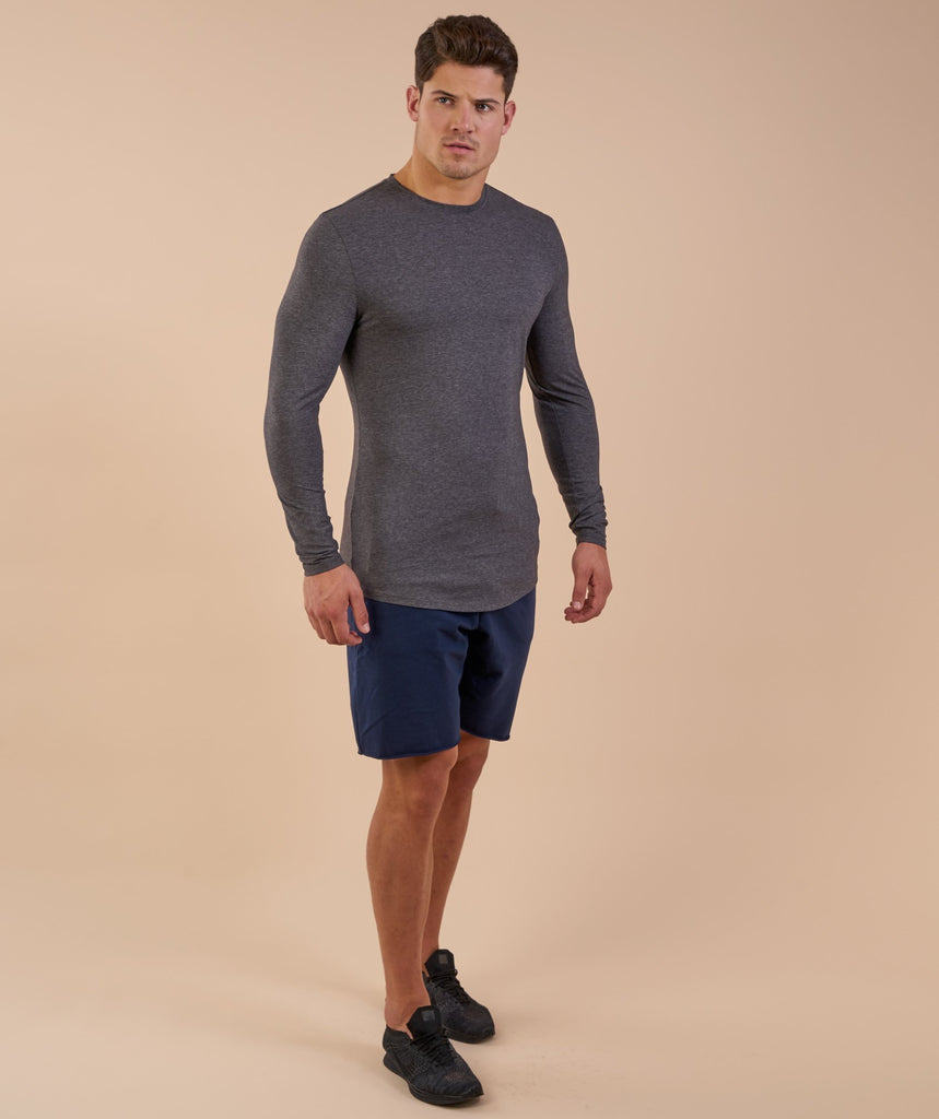 Gymshark Solace Longline Long Sleeve T-shirt - Charcoal Marl