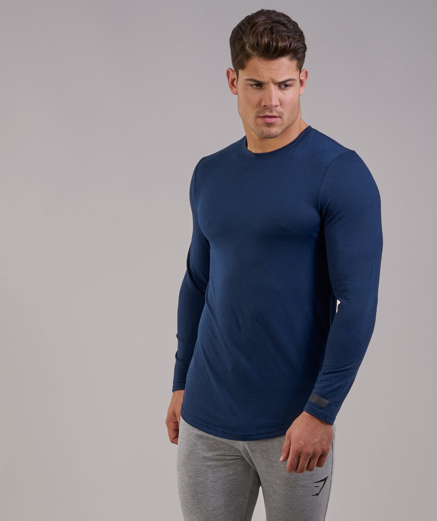 Perforated Longline Long Sleeve T-Shirt - Sapphire Blue 5