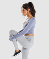 Gymshark Long Sleeve Ballet Crop Top - Steel Blue 9