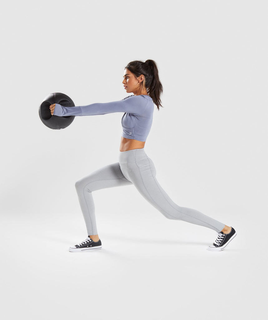 Gymshark Long Sleeve Ballet Crop Top - Steel Blue 5