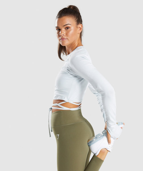 Gymshark Long Sleeve Ribbon Crop Top - Ice Blue 2