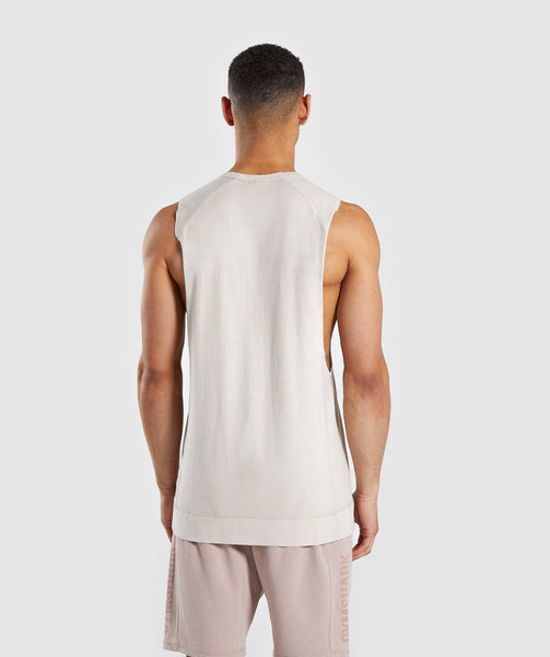 Gymshark Laundered Drop Arm Tank - Chalk Grey 1