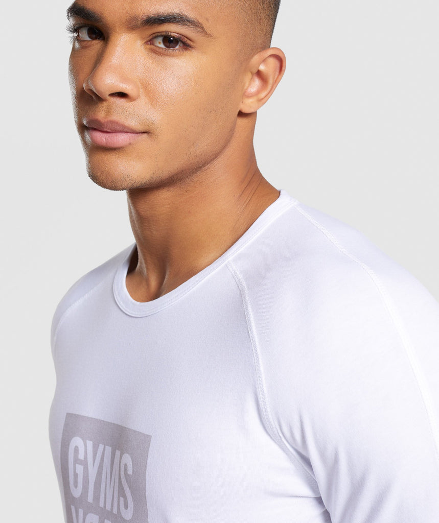 Gymshark Laundered Square Logo T-Shirt - White 5