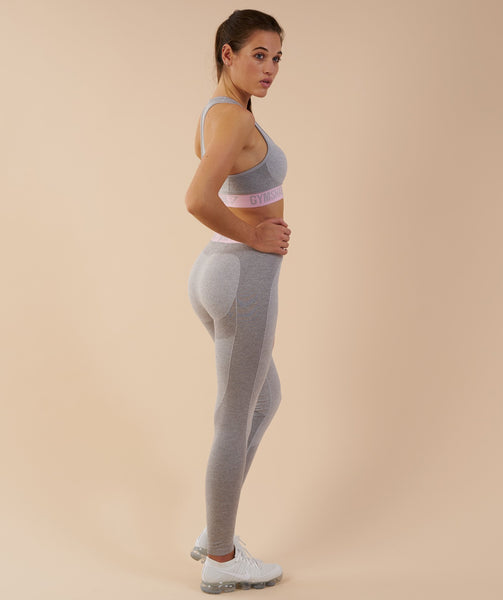 Gymshark Flex Leggings - Light Grey Marl/Chalk Pink 3