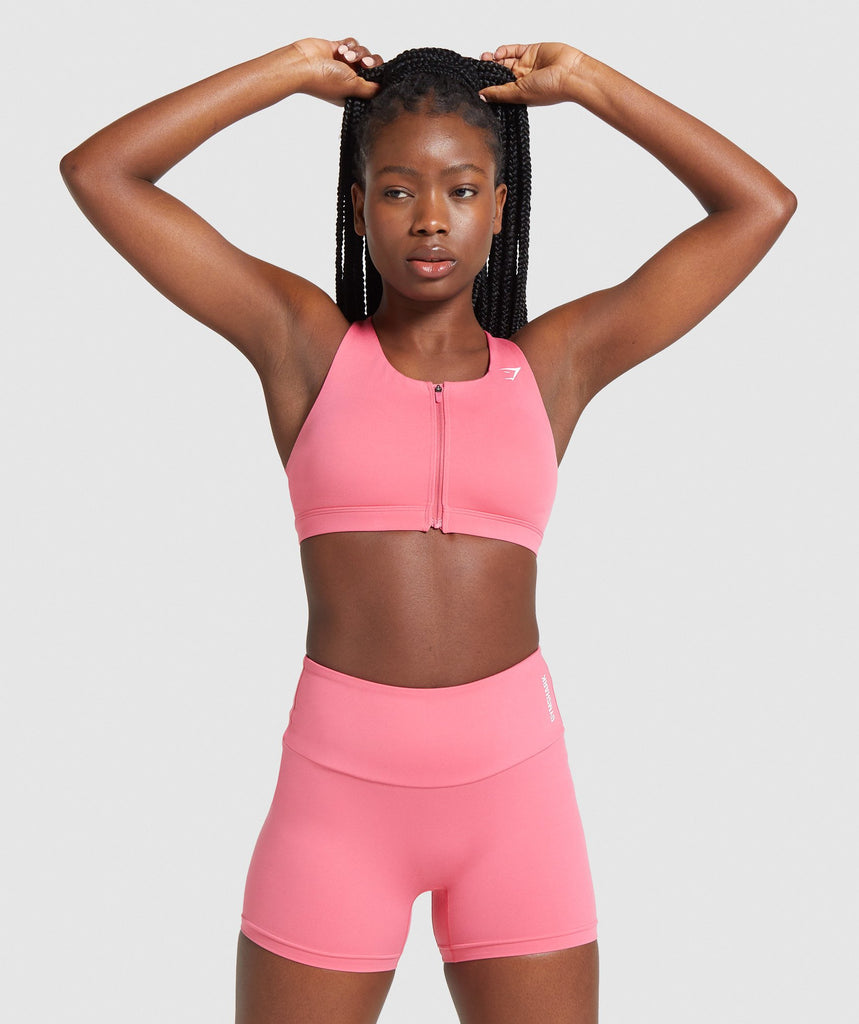 Gymshark Zip Up Training Sports Bra - Pink 1