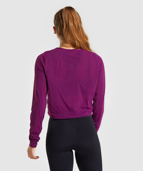Gymshark Mesh Layer Long Sleeve Top - Deep Magenta 4