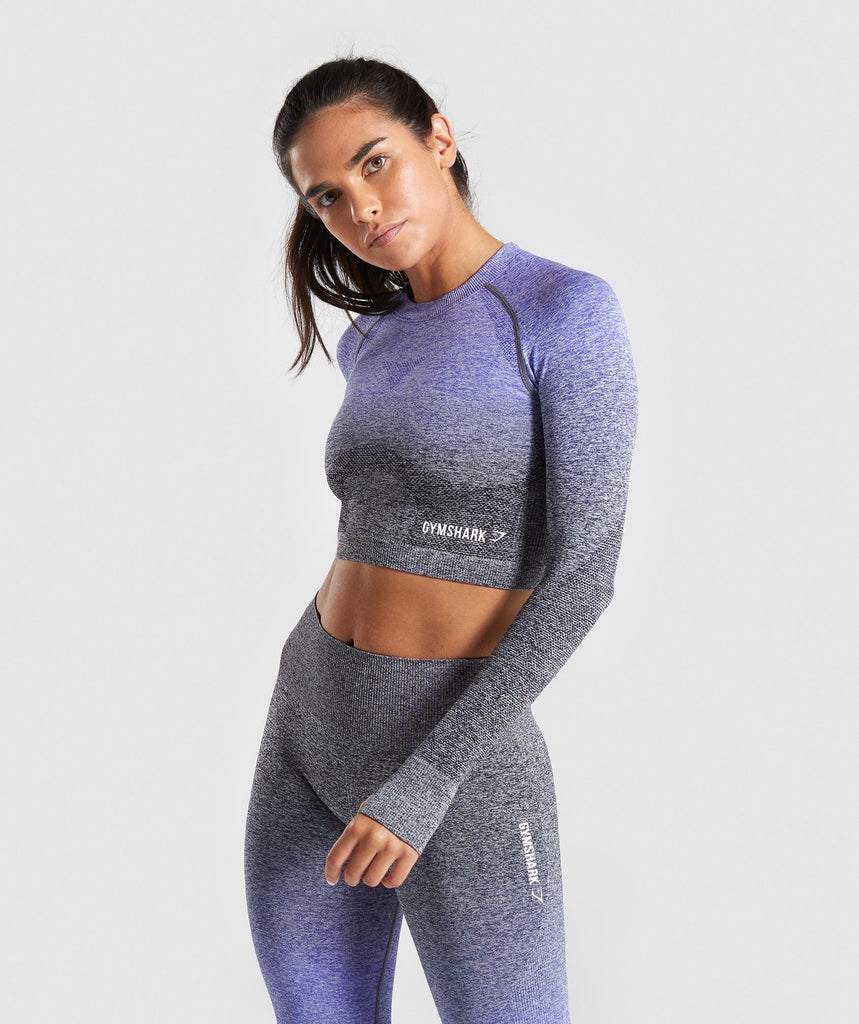 Gymshark Ombre Seamless Crop Top - Indigo/Black 1