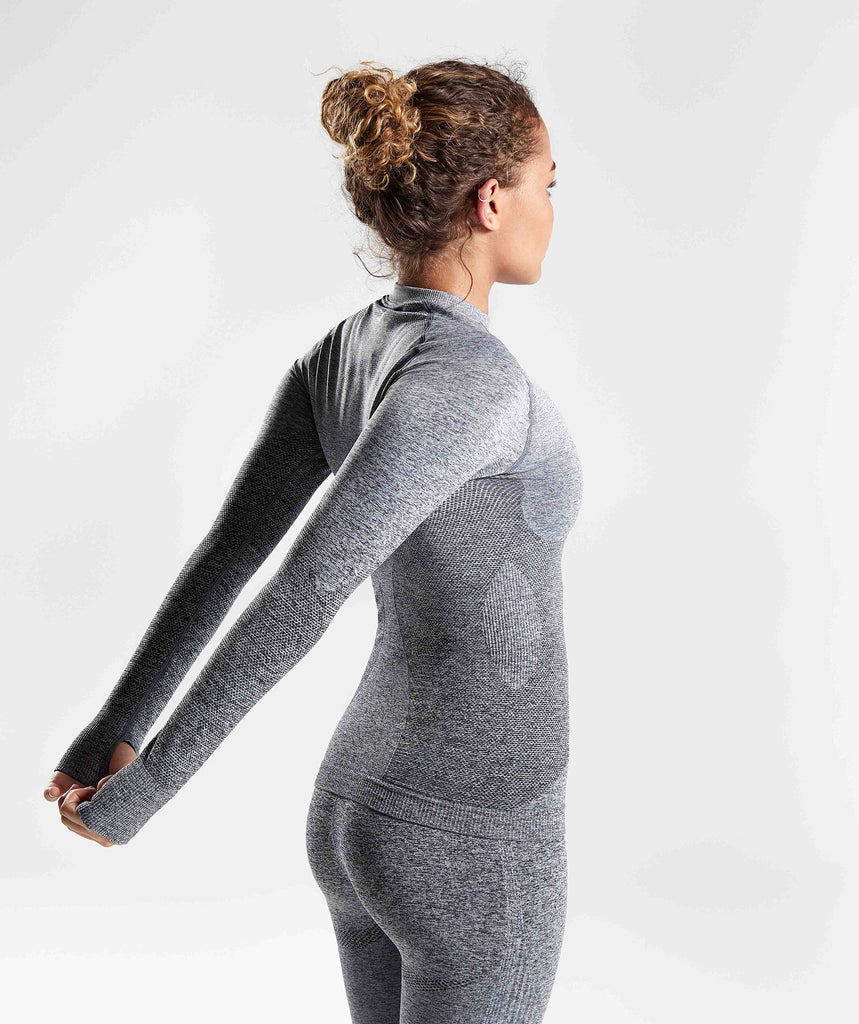 Gymshark Ombre Seamless Long Sleeve Top  - Black/Light Grey 1