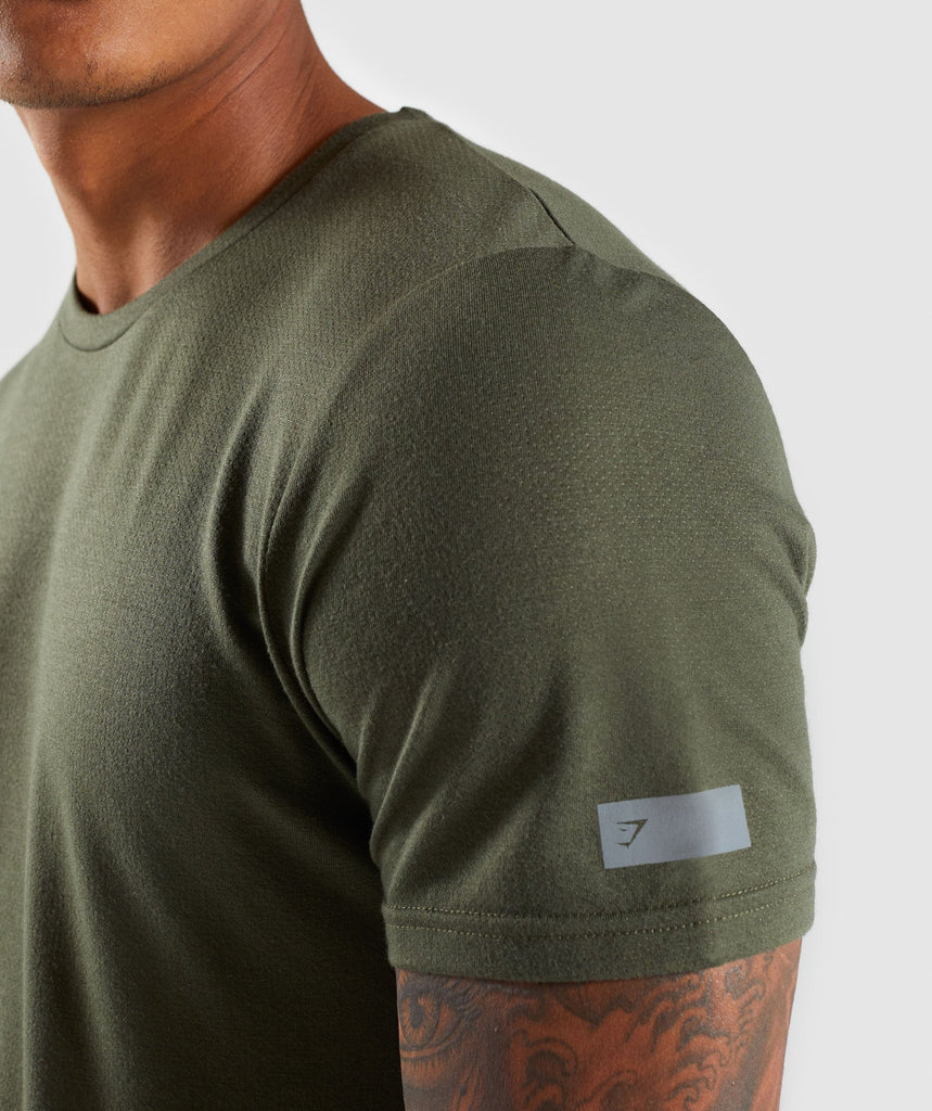Gymshark Perforated Longline T-Shirt - Woodland Green 5