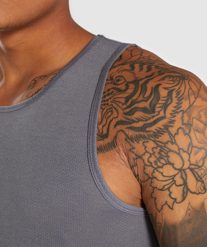 Gymshark Perforated Longline Tank - Smokey Grey 5