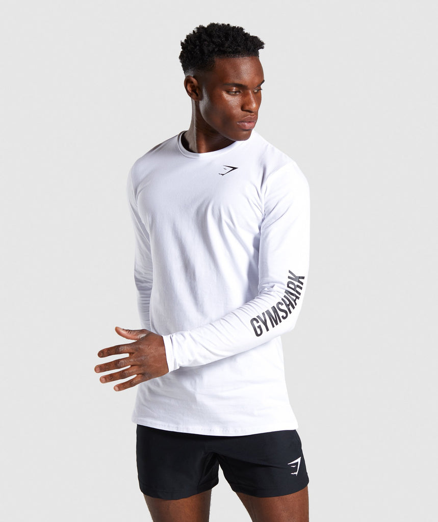 Gymshark Quote Long Sleeve T-shirt - White 1