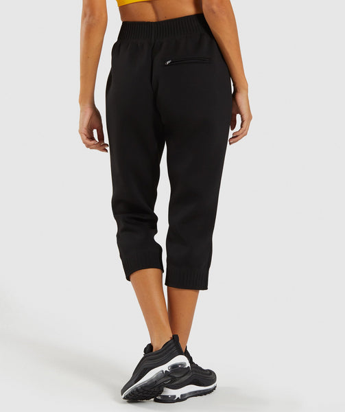 Gymshark Ruched Cropped Joggers - Black 1